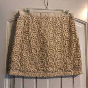 Gap 0 cream crochet mini skirt